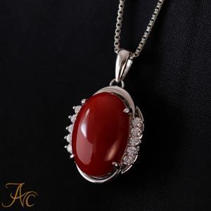 日本産血赤珊瑚オーバル14×10ミリPt900ペンダントネックレス 45センチPt850スライドチェーン付 art-coral