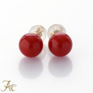日本産血赤珊瑚7ミリ玉K18ピアス|art-coral
