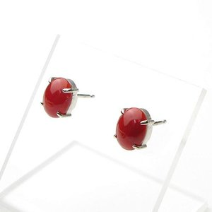 日本産血赤珊瑚オーバル8×6ミリPt900ピアス|art-coral