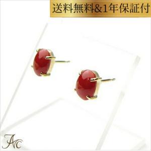 日本産血赤珊瑚オーバル8×6ミリK18ピアス|art-coral