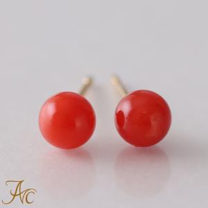 日本産血赤珊瑚4ミリ玉K18ピアス|art-coral