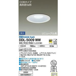 DDL-5009WW 大光電機 LEDダウンライト(軒下兼用) DDL5009WW (調光可能型)|art-lighting