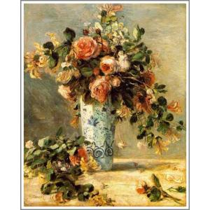 【送料無料】絵画:ルノアール(ルノワール)「花瓶にはいったバラとジャスミン」●サイズF6(41.0×31.8cm)●絵画(油絵複製画)オーダーメイド制作|art-meigakan0717