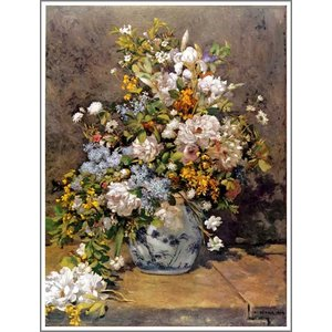 【送料無料】絵画:ルノアール(ルノワール)「春のブーケ(春の花)」●サイズF12(60.6×50.0cm)●絵画(油絵複製画)オーダーメイド制作|art-meigakan0717