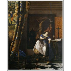 複製画 送料無料 絵画 フェルメール展 油絵 模写 フェルメール「信仰の寓意」F15(65.2×53.0cm)プレゼント 贈り物 名画 オーダーメイド 額付き 直筆|art-meigakan0717