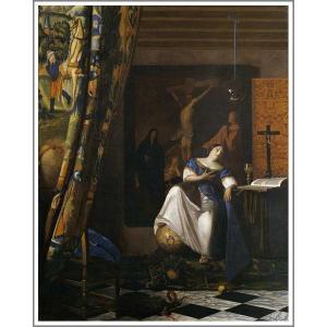 複製画 送料無料 絵画 フェルメール展 油絵 模写 フェルメール「信仰の寓意」F25(80.3×65.2cm)プレゼント 贈り物 名画 オーダーメイド 額付き 直筆|art-meigakan0717