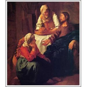 【送料無料】絵画 フェルメール「マルタとマリアの家のキリスト」●サイズF10(53.0×45.5cm)●絵画(油絵複製画)フェルメール展|art-meigakan0717