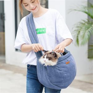 ペット用お出かけバッグ かばん 斜め掛け 肩掛け 4色 茶系 ブルー系 グレー系 カーキ系 コットン art-ya