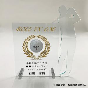 ホールインワン 記念スタンド ゴルフ アクリル 墨入れ プレゼント 記念品 ゴルフコンペ 彫刻 名入れ ギフト 表彰盾 アルバトロス エージシューティング art-ya