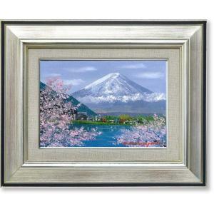 絵画 油彩画 小林幸三・桜と富士 油絵 オイルぺイント|art1