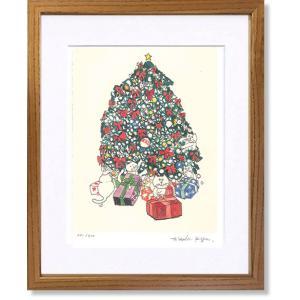 絵画 版画 猫 久下貴史  ニャオンのクリスマス インテリア art1