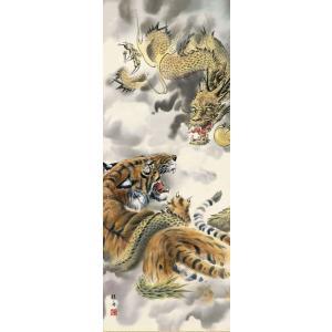 長江桂舟・龍虎図(慶祝縁起画掛け軸・掛軸)(床の間)|art1|02