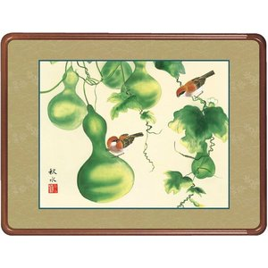 絵画 日本画 六瓢・浮田秋水 吉祥画 和装額 和額 和室インテリア