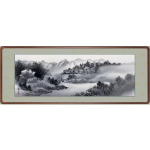 絵画 日本画 水墨山水・江本孝舟 和装額 和額 和室インテリア