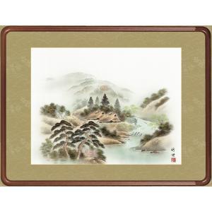 絵画 日本画 風水四神山水図・田村竹世 和装額 和額 和室インテリア|art1