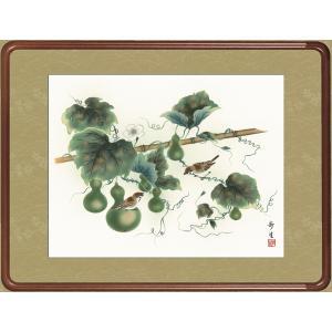絵画 日本画 六瓢・北山歩生 吉祥画 和装額 和額 和室インテリ