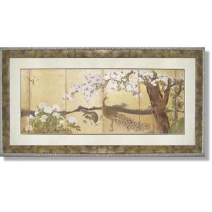 絵画 和風フレー 狩野山雪・桜と孔雀 日本画|art1