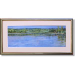 石井清・白樺の湖(アート・複製画)(風景画)|art1