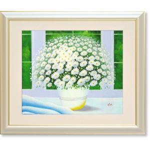 油絵・窓辺の白い花(ヒラリーメイヤー)(絵画・油絵・風水画・インテリア) art1