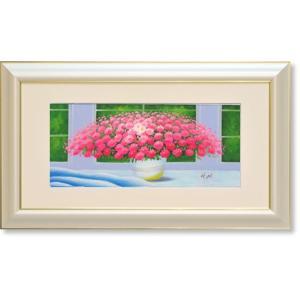油絵・窓辺のピンクの花(ヒラリーメイヤー)(絵画・油絵・風水画・インテリア) art1