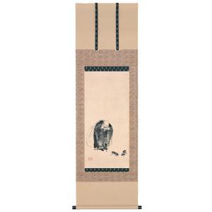宮本武蔵・布袋見闘鶏図 (木版画、掛軸)  art1