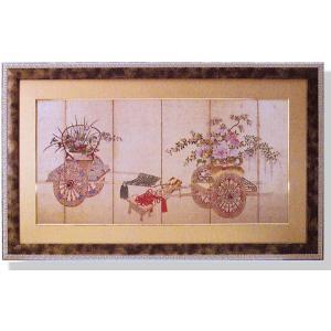 絵画 和風フレーム 花車 日本画|art1