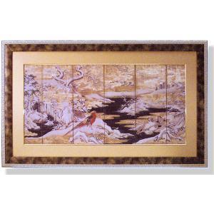 絵画 和風フレーム 赤い鳥と山水 日本画|art1