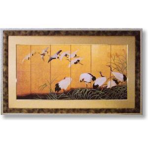 絵画 和風フレーム 鶴の舞 日本画|art1