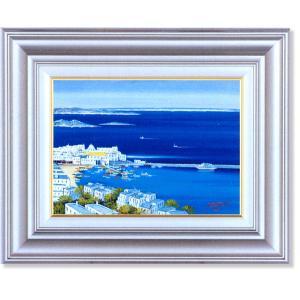 中島達幸・ミコノス島の白い港町(絵画・油絵)|art1