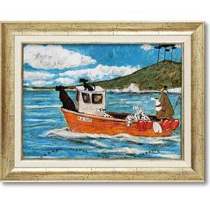 サムトフト現代アート・犬と釣り人と小さな船(絵画・インテリア)|art1