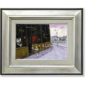 絵画 油彩画 石川佳図・パリのカフェ 油絵 オイルぺイント|art1