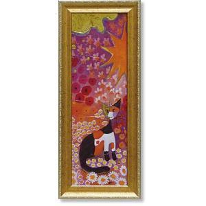 絵画 猫 インテリア ロジーナ/現代アート/カラフルフラワー1 art1