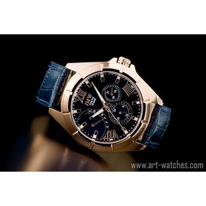 ブルー&ゴールド上級レトログラード本革100m防水マルチ腕時計|art1watches