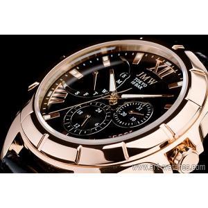 ブラック&ゴールド上級レトログラード本革100m防水マルチ時計|art1watches