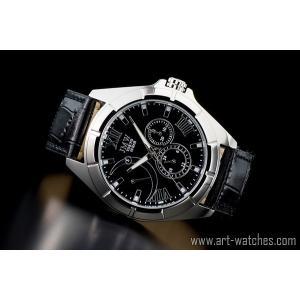 ブラック&シルバー上級レトログラード本革100m防水マルチ時計|art1watches