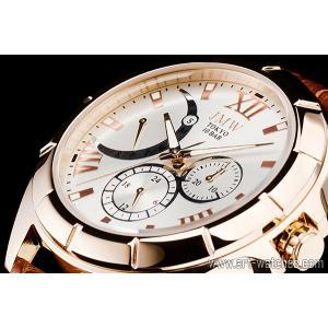 シルバー&ゴールド上級レトログラード本革100m防水マルチ時計|art1watches
