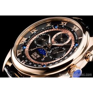 【JMW TOKYO】ブラック&ゴールド上級「ムーンフェイズ 」本革ベルトローマ数字インデックス100m防水タキメーター腕時計【世界限定300本】|art1watches