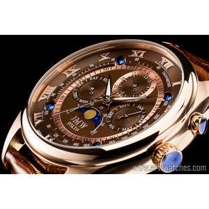 【JMW TOKYO】ブラウン&ゴールド上級「ムーンフェイズ 」本革ベルトローマ数字インデックス100m防水タキメーター腕時計【世界限定300本】|art1watches