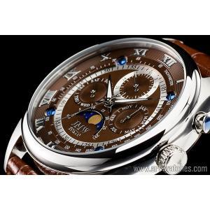 【JMW TOKYO】ブラウン&シルバー上級「ムーンフェイズ 」本革ベルトローマ数字インデックス100m防水タキメーター腕時計【世界限定300本】|art1watches