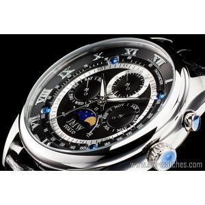 【JMW TOKYO】ブラック&シルバー上級「ムーンフェイズ 」本革ベルトローマ数字インデックス100m防水タキメーター腕時計【世界限定300本】|art1watches