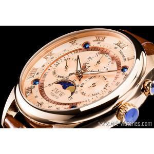 【JMW TOKYO】ピンクゴールド上級「ムーンフェイズ 」本革ベルトローマ数字インデックス100m防水タキメーター腕時計【世界限定300本】|art1watches