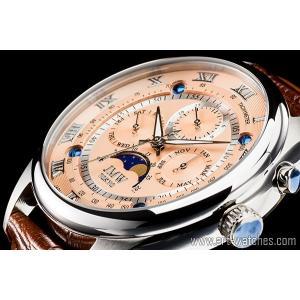 【JMW TOKYO】ピンクゴールド&シルバー上級「ムーンフェイズ 」本革ベルトローマ数字インデックス100m防水タキメーター腕時計【世界限定300本】|art1watches