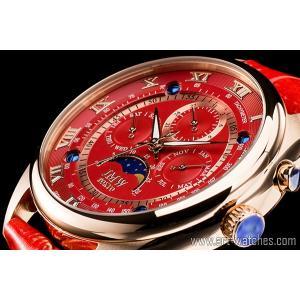 【JMW TOKYO】レッド&ゴールド上級「ムーンフェイズ 」本革ベルトローマ数字インデックス100m防水タキメーター腕時計【世界限定300本】|art1watches