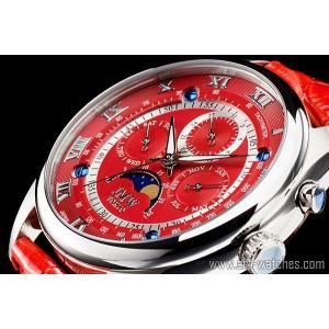 【JMW TOKYO】レッド&シルバー上級「ムーンフェイズ 」本革ベルトローマ数字インデックス100m防水タキメーター腕時計【世界限定300本】|art1watches