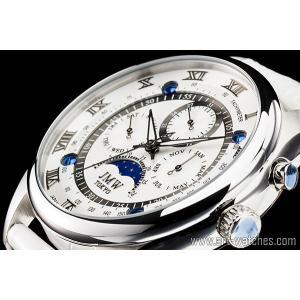 【JMW TOKYO】ホワイト&シルバー上級「ムーンフェイズ 」本革ベルトローマ数字インデックス100m防水タキメーター腕時計【世界限定300本】|art1watches