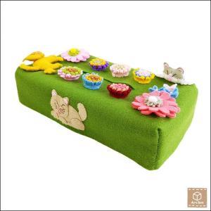 刺繍 フェルト布 ティッシュケース ティッシュカバー 猫 ねこ ハンドメイド 手作り 一点物|artboxkyoto
