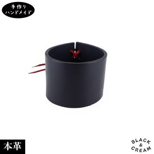 一点物 国産 手作り 本革 バングル 太め レザー レディース ブラック ハンドメイド|artboxkyoto