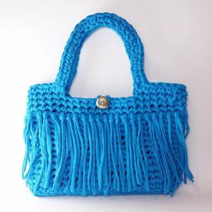 完成品 ズパゲッティバッグ ブルー トートバッグ レディース 夏 ハンドメイド 手編み|artboxkyoto
