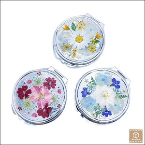 押し花のピルケース ミラー付き フラワー 円形 可愛い プレゼント 贈り物 お祝い ハンドメイド 一点物|artboxkyoto