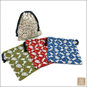 猫柄 巾着袋 ポーチ ねこ雑貨 ネコ 子供用 キッズ 給食袋 ハンドメイド 手作り|artboxkyoto